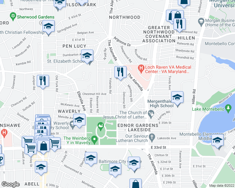 map of restaurants, bars, coffee shops, grocery stores, and more near Chestnut Hill Ave & Ednor Rd in Baltimore