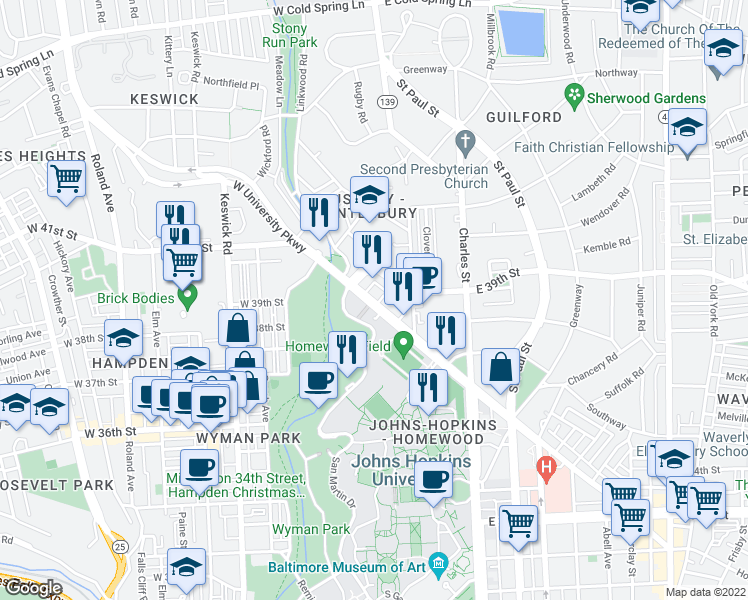 map of restaurants, bars, coffee shops, grocery stores, and more near 108 W University Pkwy in Baltimore