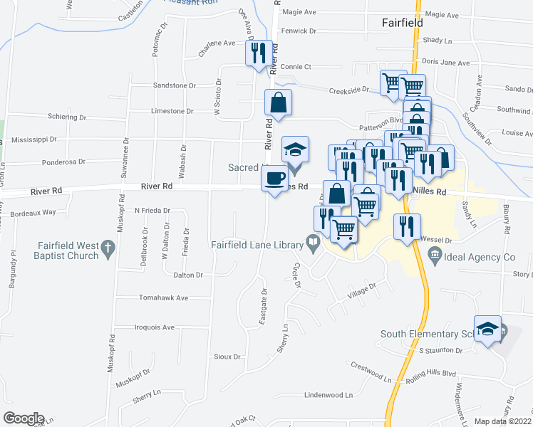 map of restaurants, bars, coffee shops, grocery stores, and more near 5247 Southgate Blvd in Fairfield