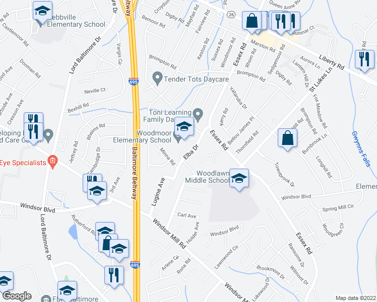 map of restaurants, bars, coffee shops, grocery stores, and more near 3200 Elba Dr in Lochearn