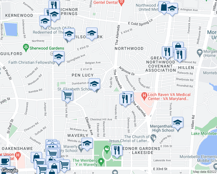 map of restaurants, bars, coffee shops, grocery stores, and more near 936 North Hill Road in Baltimore