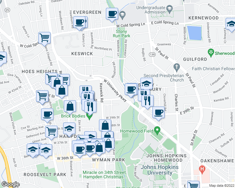 map of restaurants, bars, coffee shops, grocery stores, and more near W University Pkwy in Baltimore