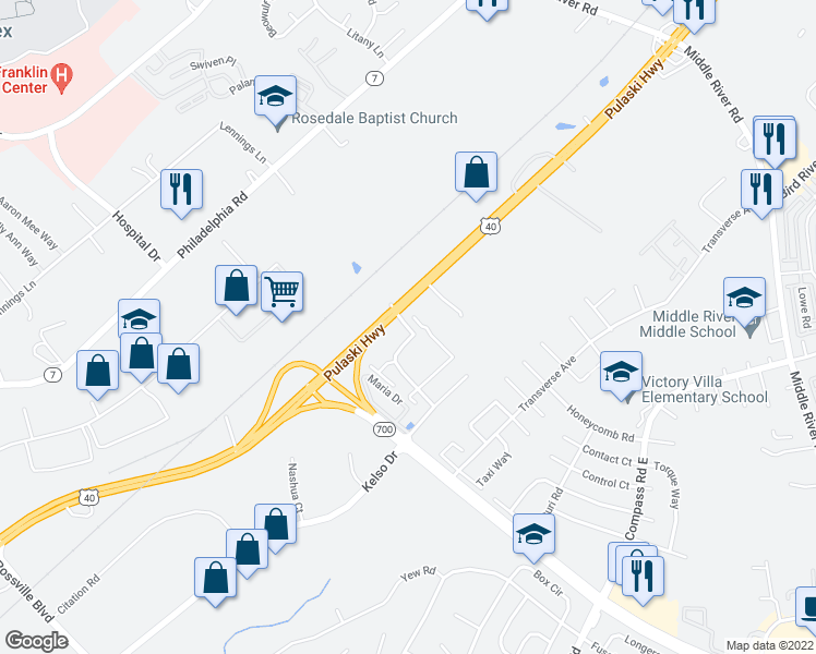 map of restaurants, bars, coffee shops, grocery stores, and more near Holly Dr in Middle River