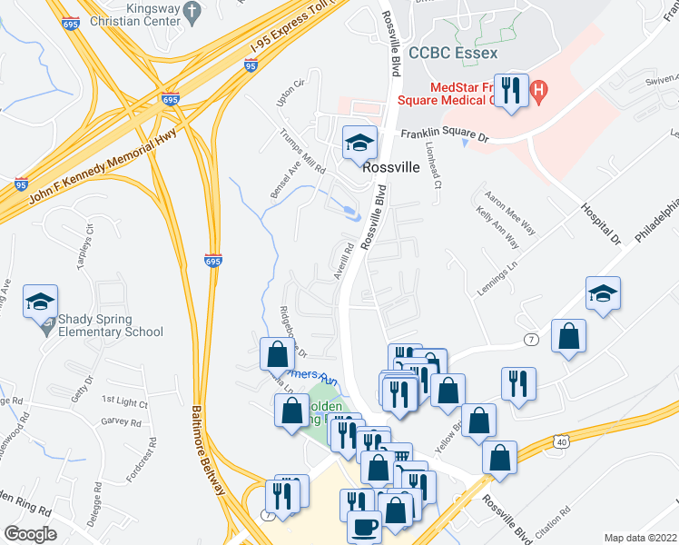 map of restaurants, bars, coffee shops, grocery stores, and more near 6733-6799 Averill Road in Rosedale