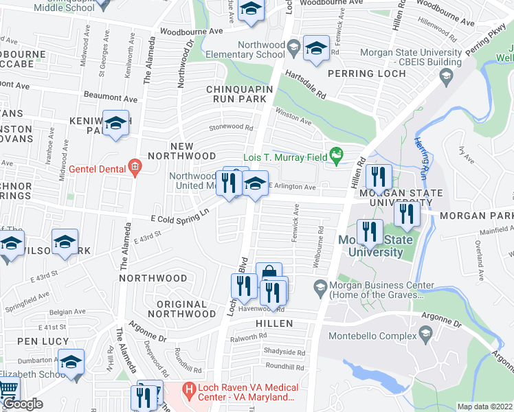 map of restaurants, bars, coffee shops, grocery stores, and more near 1503 Northgate Road in Baltimore