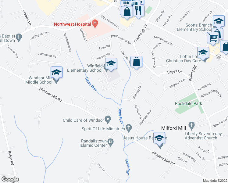 map of restaurants, bars, coffee shops, grocery stores, and more near 8200-8298 Carlson Lane in Milford Mill