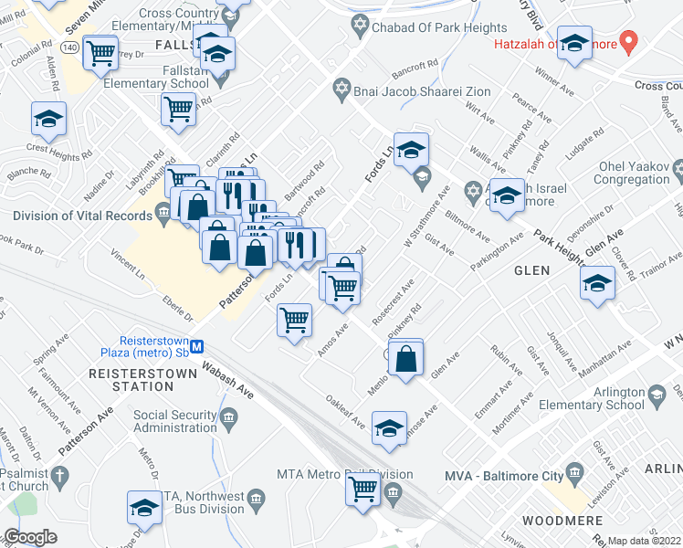 map of restaurants, bars, coffee shops, grocery stores, and more near 4000 Fordleigh Road in Baltimore