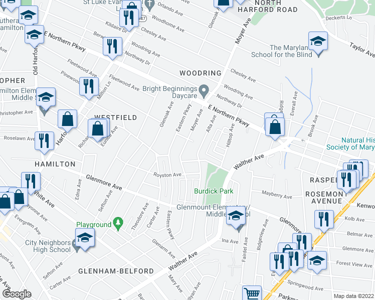 map of restaurants, bars, coffee shops, grocery stores, and more near 6401 Moyer Avenue in Baltimore