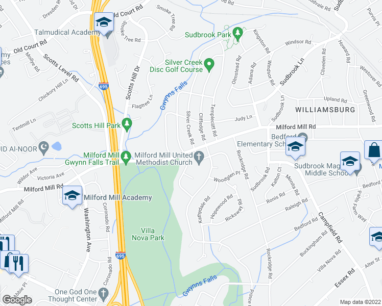 map of restaurants, bars, coffee shops, grocery stores, and more near 639 Leafydale Terrace in Pikesville