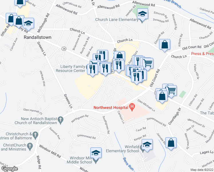 map of restaurants, bars, coffee shops, grocery stores, and more near 28-98 Cinnamon Circle in Randallstown