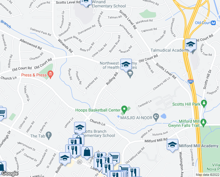 map of restaurants, bars, coffee shops, grocery stores, and more near 4698 Horizon Circle in Pikesville