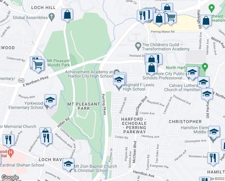 map of restaurants, bars, coffee shops, grocery stores, and more near 6501-6599 Pioneer Drive in Baltimore