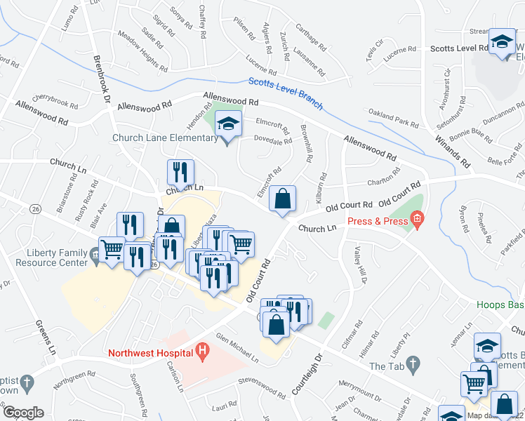 map of restaurants, bars, coffee shops, grocery stores, and more near 8615 Church Lane in Randallstown