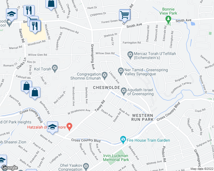 map of restaurants, bars, coffee shops, grocery stores, and more near 6238 Greenspring Ave in Baltimore