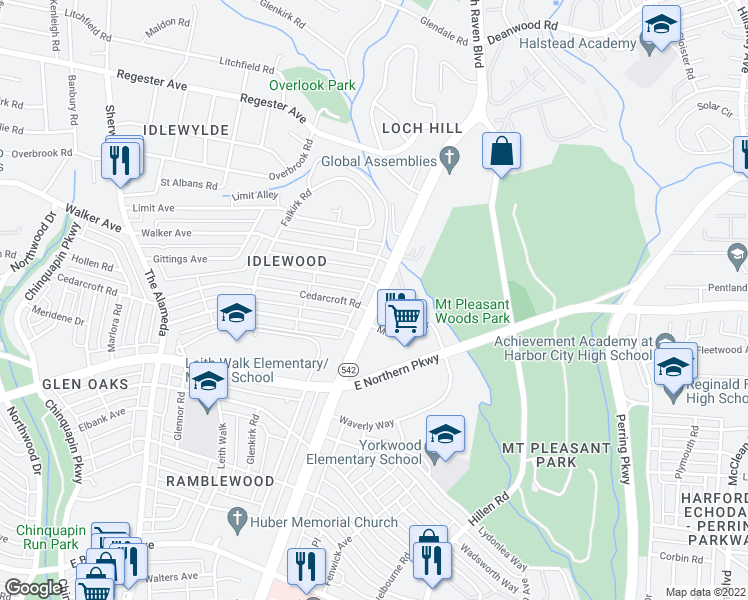 map of restaurants, bars, coffee shops, grocery stores, and more near Loch Raven Blvd in Baltimore