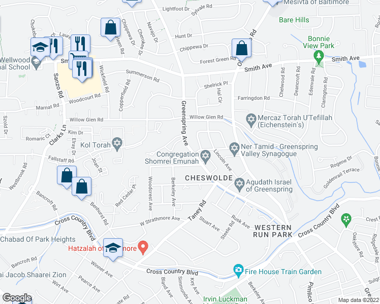 map of restaurants, bars, coffee shops, grocery stores, and more near 6300 Shelrick Drive in Baltimore