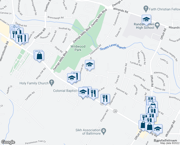 map of restaurants, bars, coffee shops, grocery stores, and more near in Randallstown