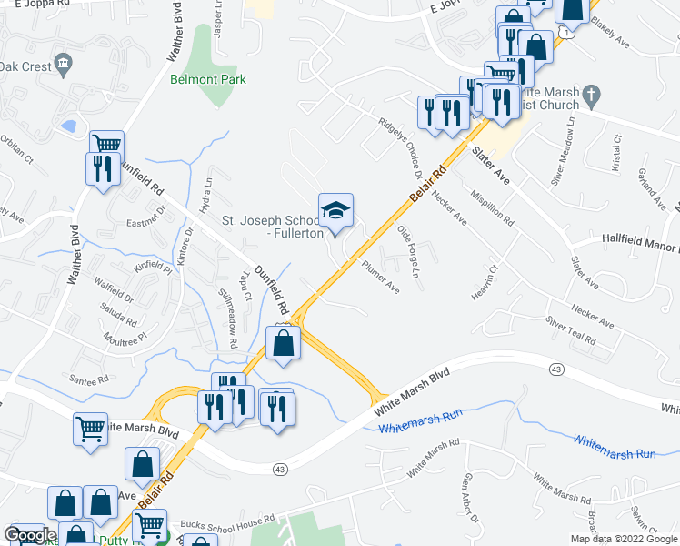 map of restaurants, bars, coffee shops, grocery stores, and more near 8354-8390 Belair Road in Nottingham