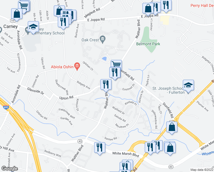 map of restaurants, bars, coffee shops, grocery stores, and more near 8623 Walther Blvd in Nottingham