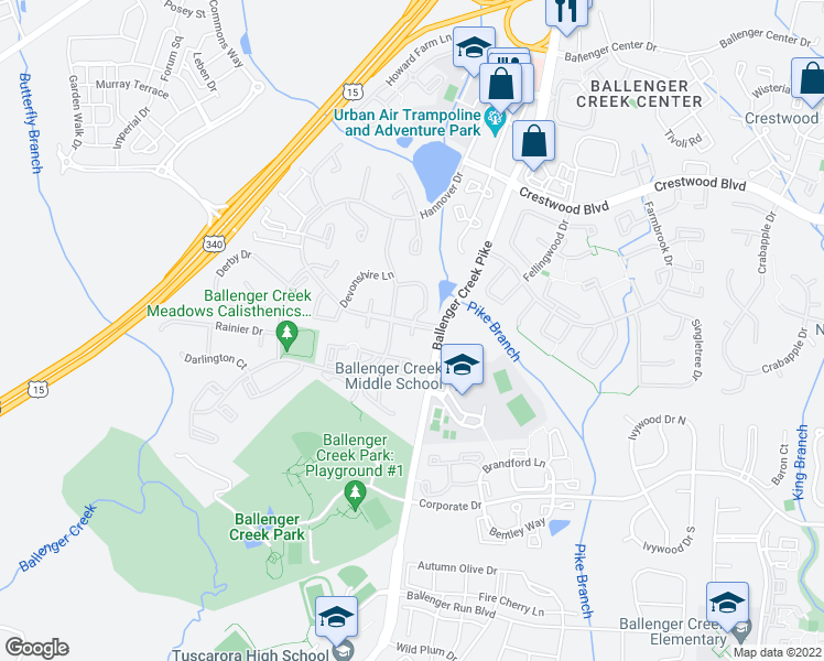 map of restaurants, bars, coffee shops, grocery stores, and more near 6210 Adelay Court West in Frederick