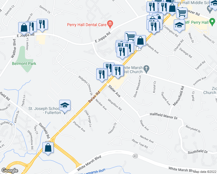 map of restaurants, bars, coffee shops, grocery stores, and more near 8622 Belair Road in Kingsville