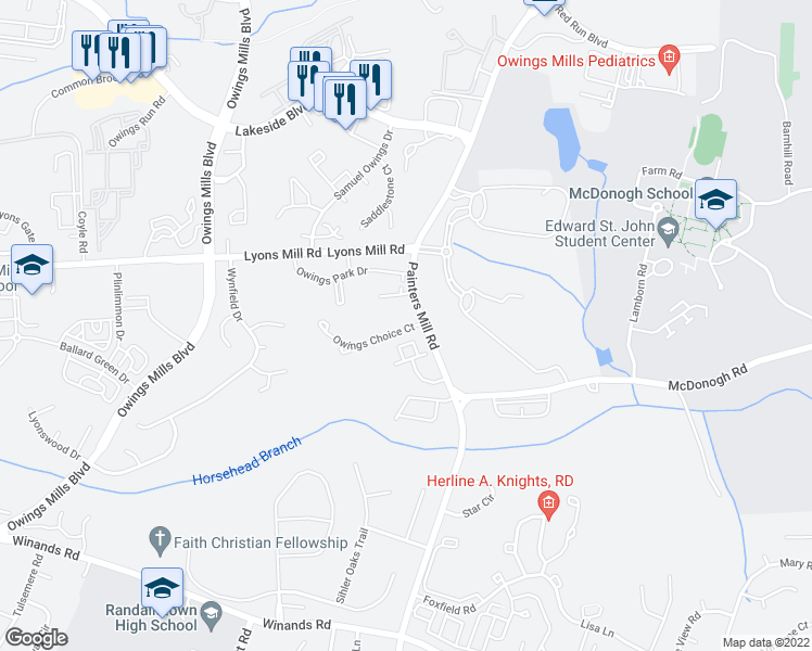 map of restaurants, bars, coffee shops, grocery stores, and more near Riverstone Drive in Owings Mills