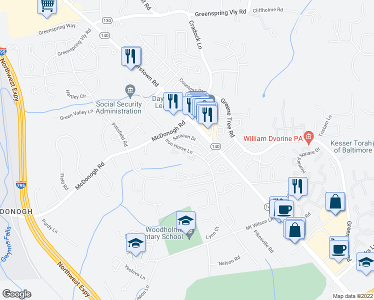 map of restaurants, bars, coffee shops, grocery stores, and more near 9073 Saracen Drive in Pikesville
