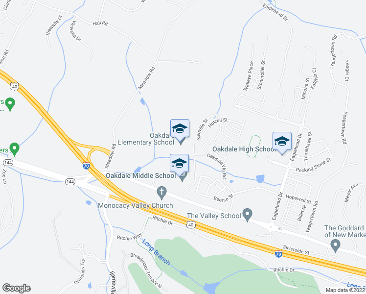 map of restaurants, bars, coffee shops, grocery stores, and more near 9850 Old National Pike in Frederick