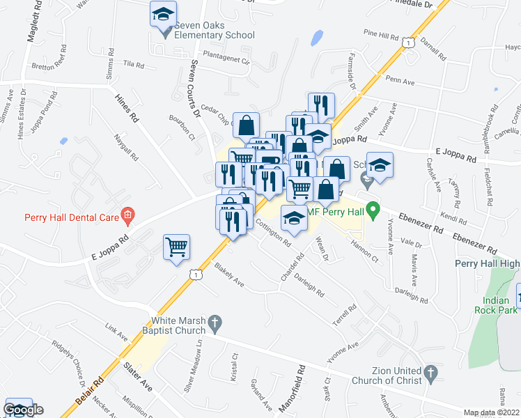 map of restaurants, bars, coffee shops, grocery stores, and more near 8900 Belair Road in Nottingham