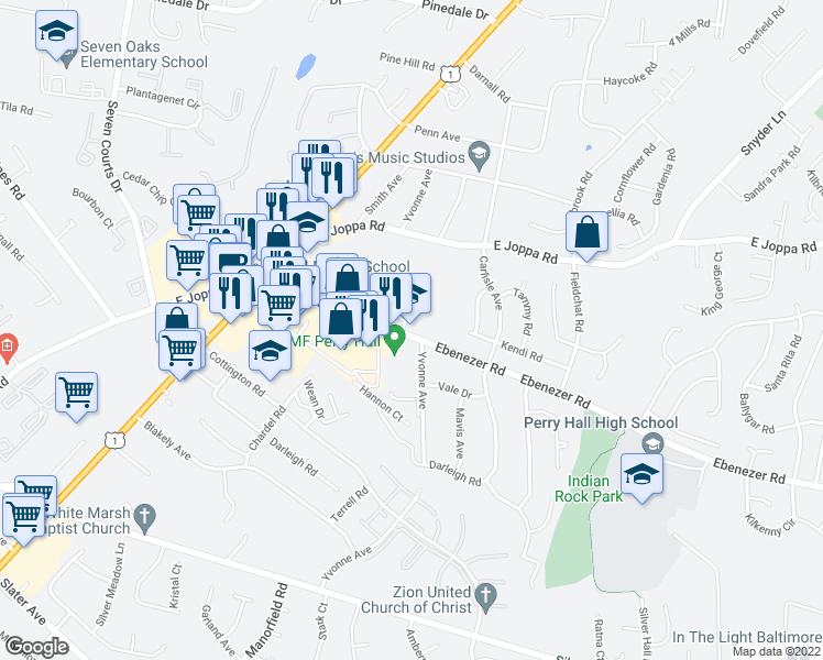 map of restaurants, bars, coffee shops, grocery stores, and more near 4416 Ebenezer Rd in Nottingham