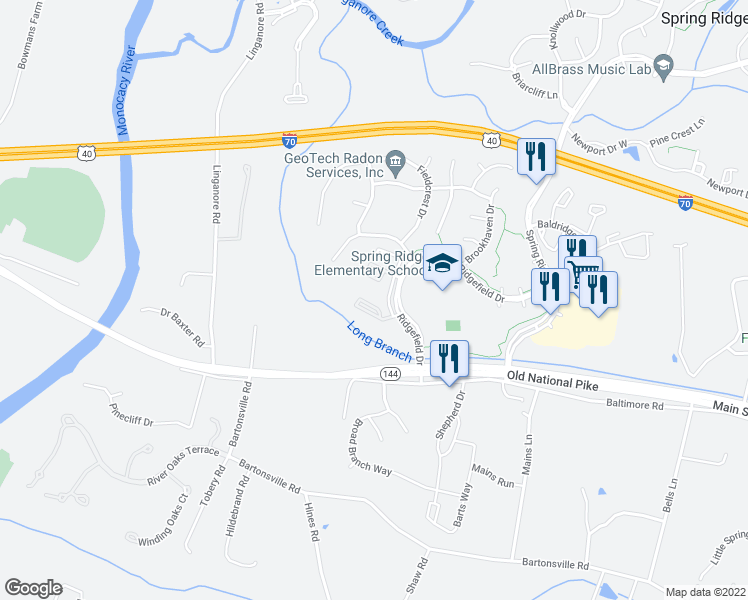 map of restaurants, bars, coffee shops, grocery stores, and more near Springwater Court in Frederick