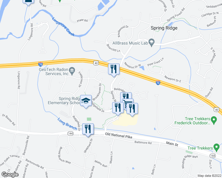 map of restaurants, bars, coffee shops, grocery stores, and more near 6001-6099 Spring Ridge Parkway in Frederick