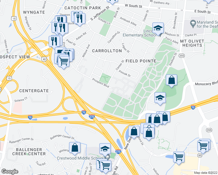 map of restaurants, bars, coffee shops, grocery stores, and more near 384 Prospect Blvd in Frederick