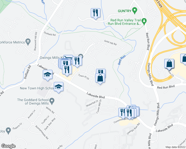 map of restaurants, bars, coffee shops, grocery stores, and more near 1 Williams Court in Owings Mills