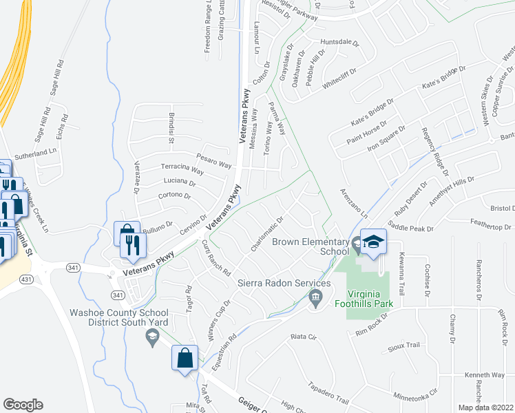 map of restaurants, bars, coffee shops, grocery stores, and more near 420 Dartmoor Ct in Reno