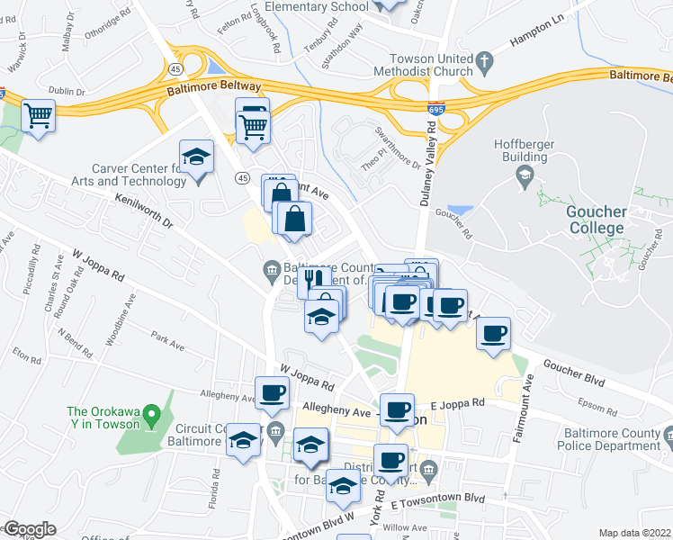 map of restaurants, bars, coffee shops, grocery stores, and more near 3-29 Dunvale Rd in Towson