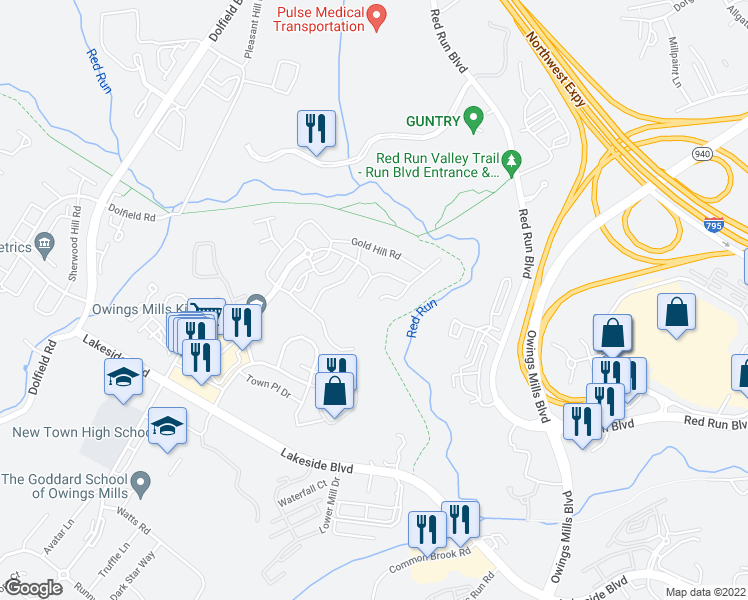 map of restaurants, bars, coffee shops, grocery stores, and more near 108 Arbor Vista Lane in Owings Mills