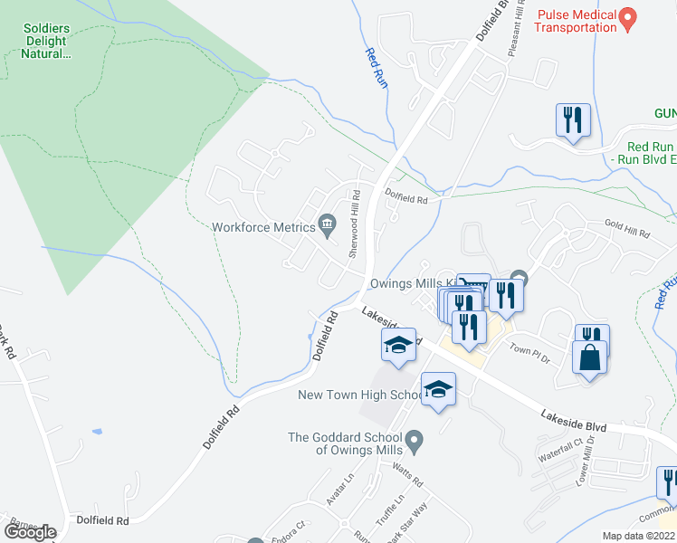 map of restaurants, bars, coffee shops, grocery stores, and more near 4703 Buxton Circle in Owings Mills
