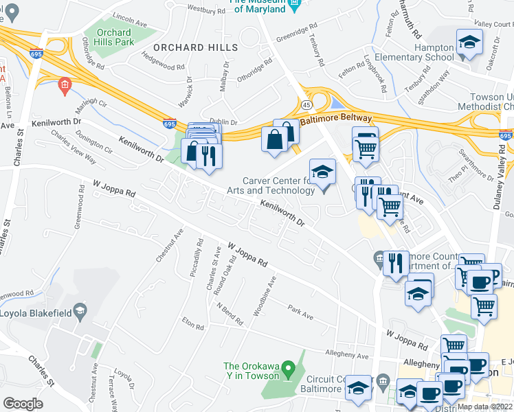 map of restaurants, bars, coffee shops, grocery stores, and more near 647 Galliton Lane in Towson