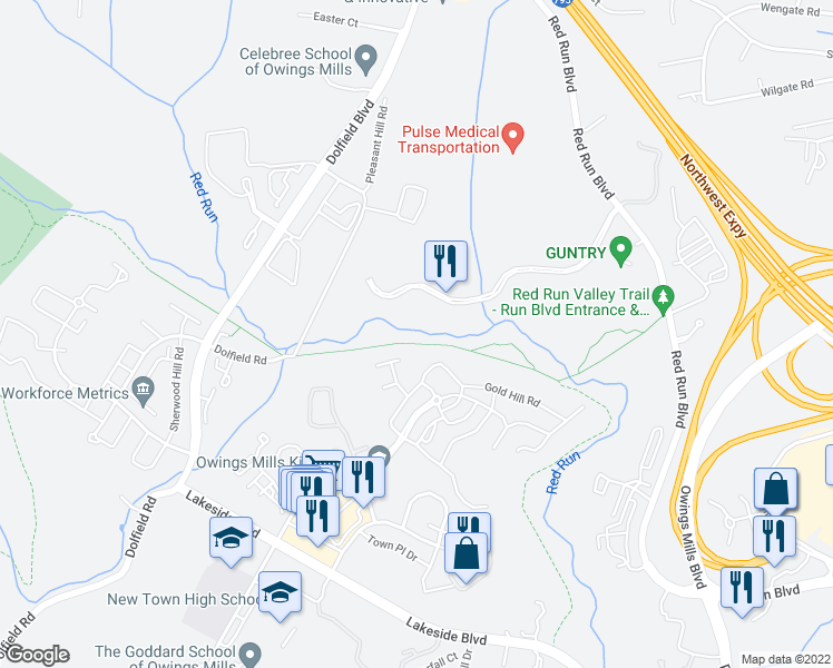 map of restaurants, bars, coffee shops, grocery stores, and more near 90 Conewago Court in Owings Mills