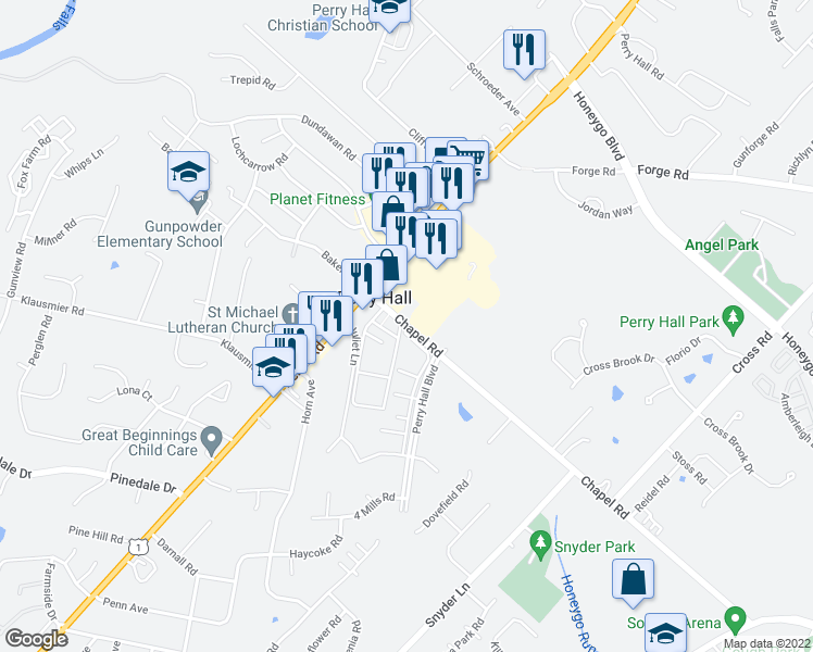 map of restaurants, bars, coffee shops, grocery stores, and more near 4217 Chapel Rd in Nottingham