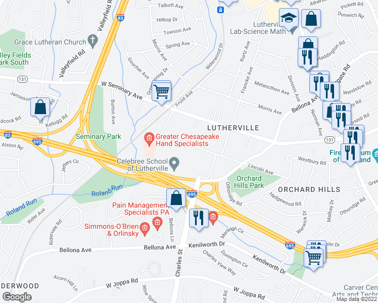 map of restaurants, bars, coffee shops, grocery stores, and more near 313-333 Lincoln Ave in Lutherville-Timonium