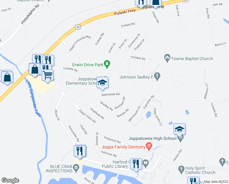 map of restaurants, bars, coffee shops, grocery stores, and more near 430-498 Barksdale Road in Joppa