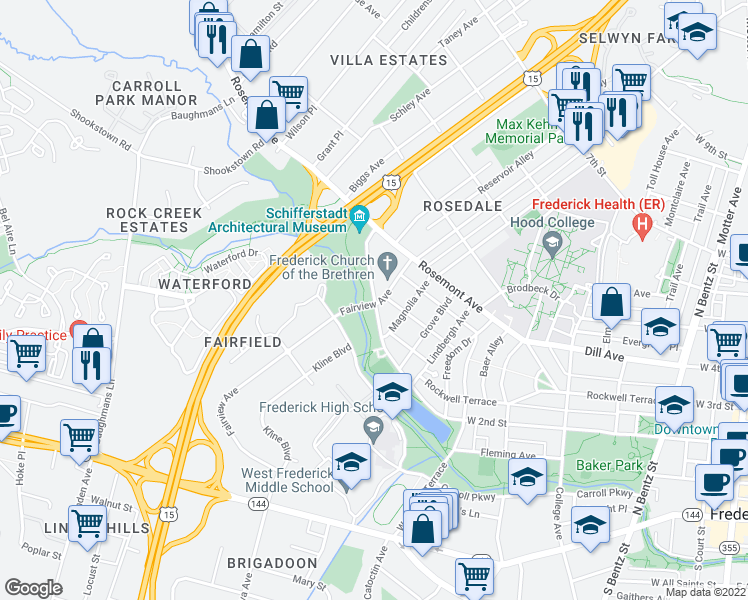 map of restaurants, bars, coffee shops, grocery stores, and more near Carroll Creek Path in Frederick