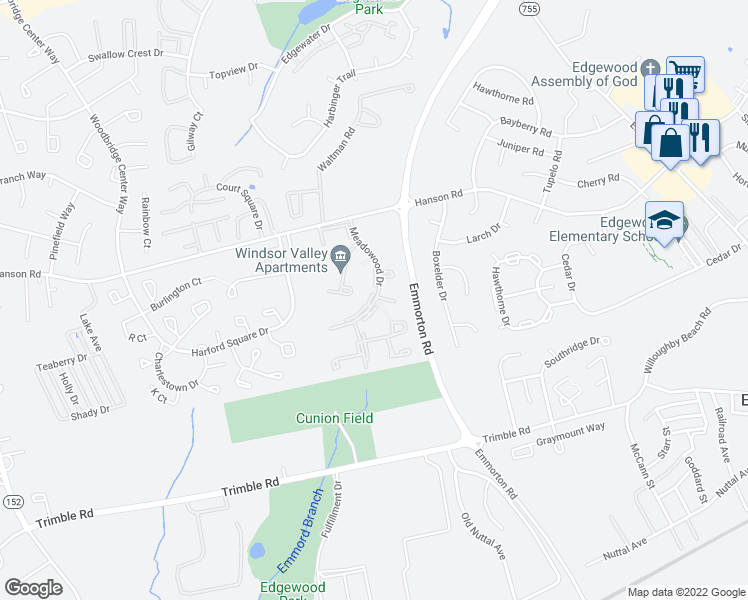 map of restaurants, bars, coffee shops, grocery stores, and more near Dearwood Ct in Edgewood