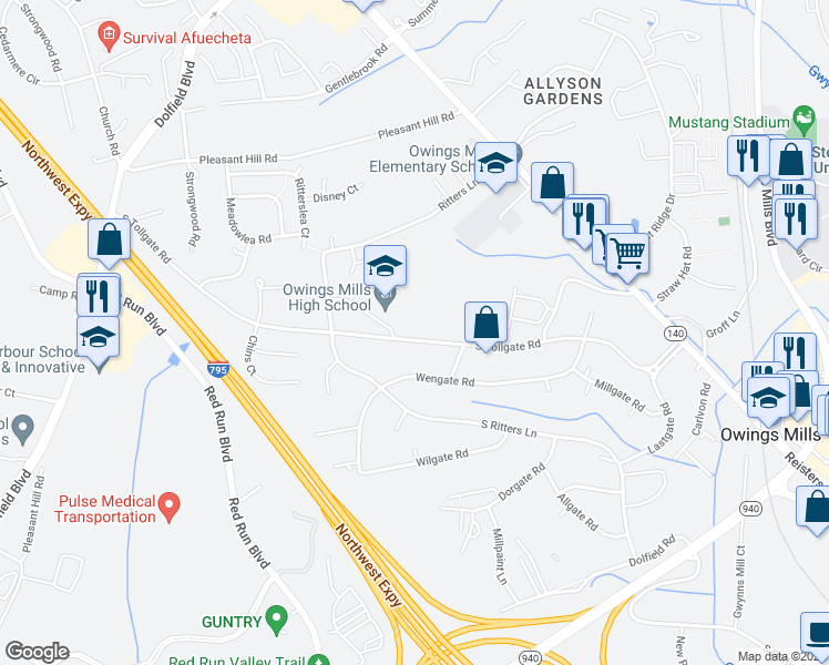 map of restaurants, bars, coffee shops, grocery stores, and more near 124 Tollgate Road in Owings Mills