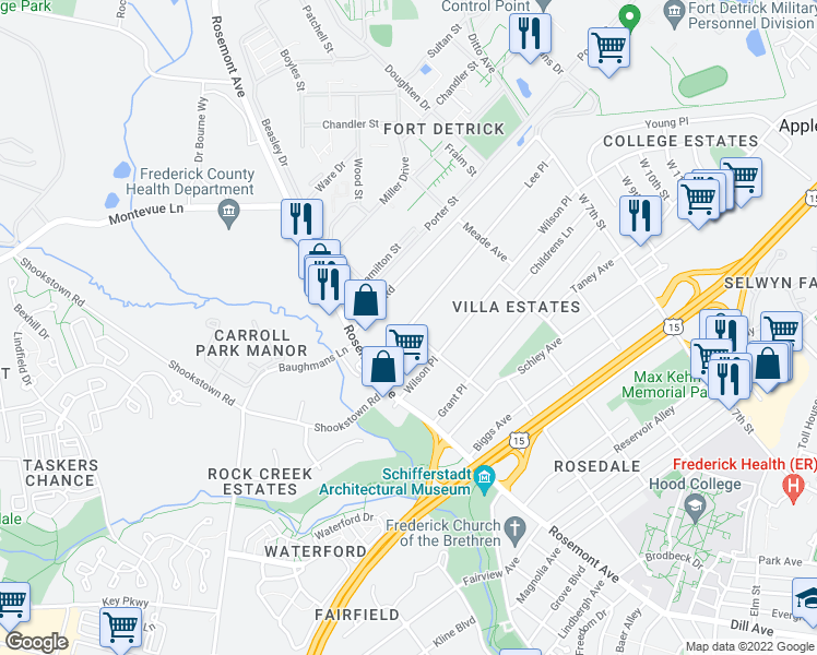 map of restaurants, bars, coffee shops, grocery stores, and more near 531 Lee Pl in Frederick