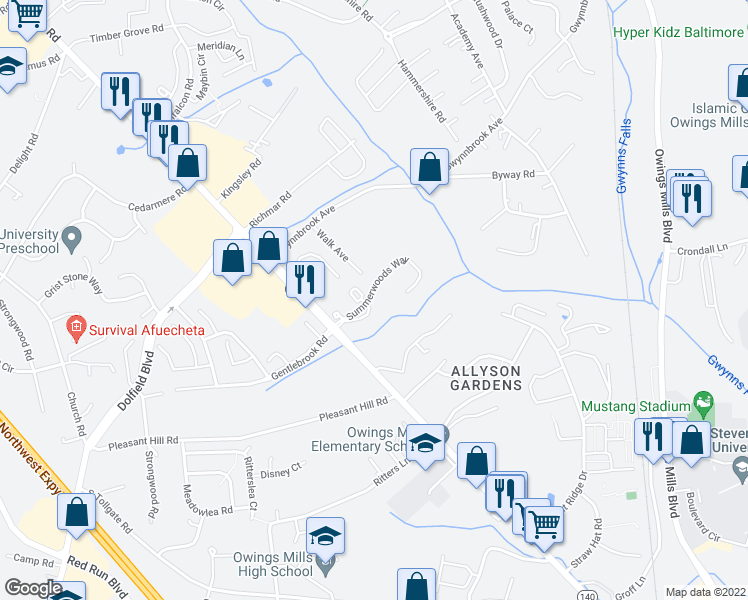 map of restaurants, bars, coffee shops, grocery stores, and more near in Owings Mills
