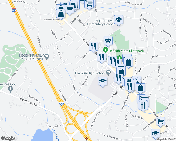 map of restaurants, bars, coffee shops, grocery stores, and more near 19-31 Brookebury Drive in Reisterstown
