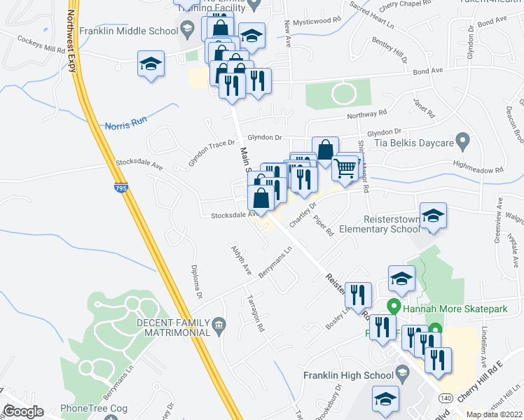 map of restaurants, bars, coffee shops, grocery stores, and more near 2 Stocksdale Avenue in Reisterstown